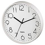 Hama Wanduhr ohne tickgeräusche (leise Wohnzimmer-Uhr mit großem Ziffernblatt, analoge Küchenuhr inkl. Batterie) weiß