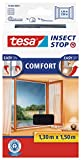 tesa Insect Stop COMFORT fly screen for windows - insect screen with Velcro tape, self-adhesive - fly net without drilling - anthracite (transparent)