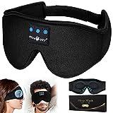 Schlafmaske Herren und Frauen, 3D Konturierte Verbesserte Augenmaske Schlafkopfhörer Blue-tooth,Waschbare Schlafbrille mit Innovativem Verstecktem Nasenflügel Design Blockiert Licht 99%,Geschenke
