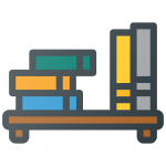 Hall reduzieren mit einem Bücherregal