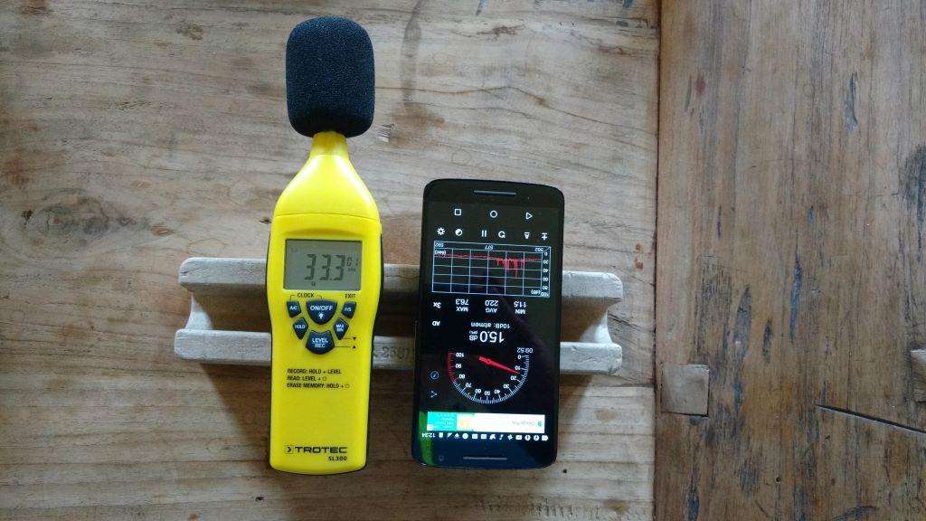 Schallpegelmessgerät versus Schallmessung (Sound Meter) App (Smartphone Mikrofon nach oben)