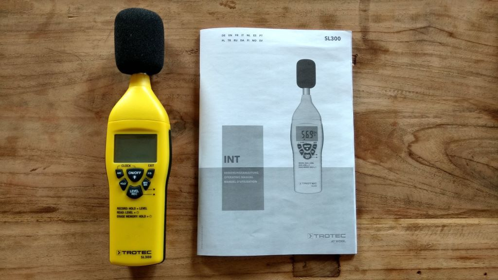 TROTEC SL300 sound level meter with operating instructions