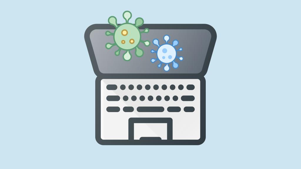Laptop mit Malware und Viren