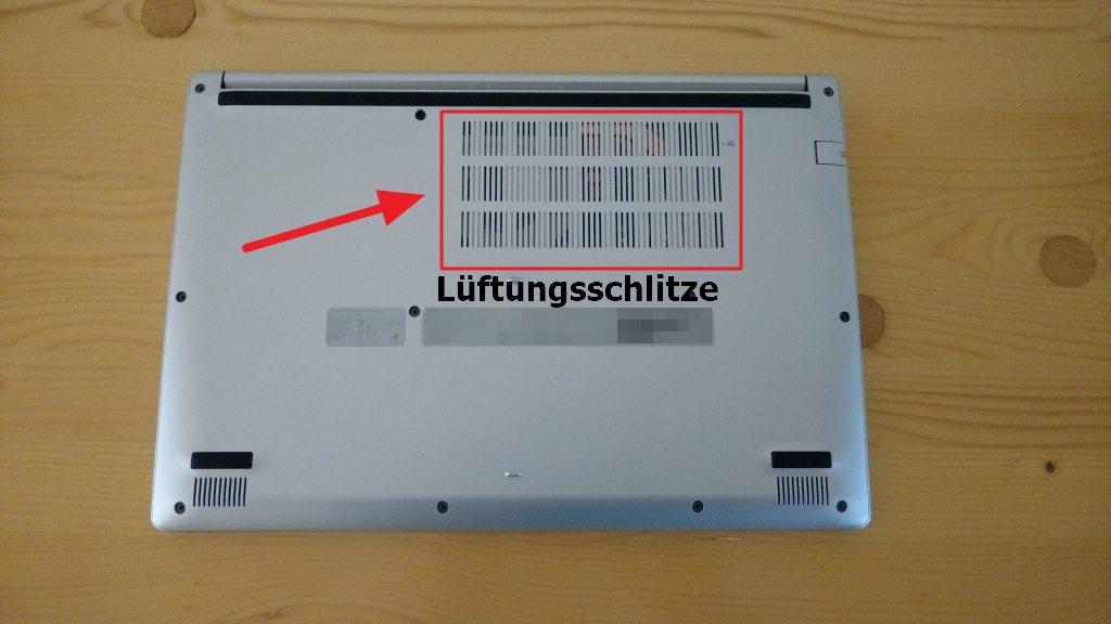 Laptop Lüftungsschlitze