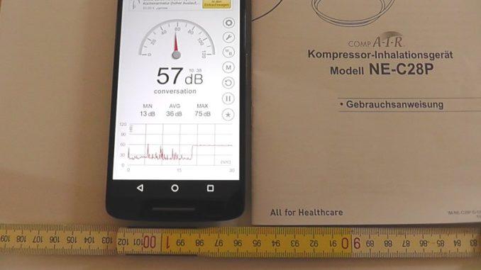 Lautstärke Inhaliergerät Omron CompAir C28P in 100 cm Entfernung