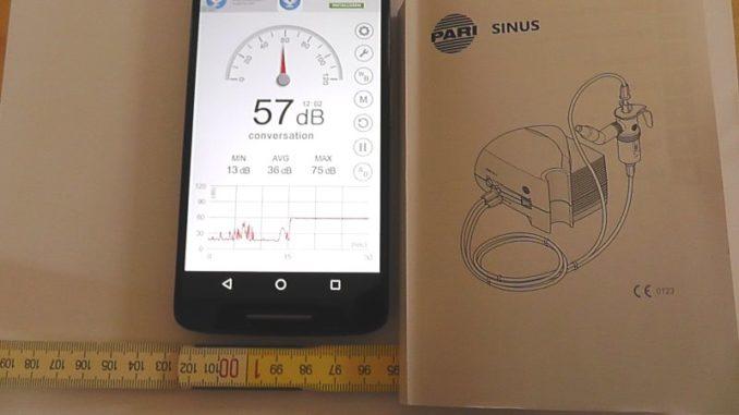 Lautstärke Inhaliergerät PariSinus in 100 cm Entfernung